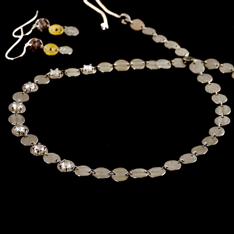 Platinum and Gold Disc Necklace and Earrings