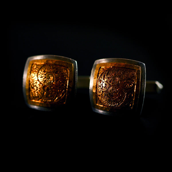 Silver with Gold Engraved Cufflinks