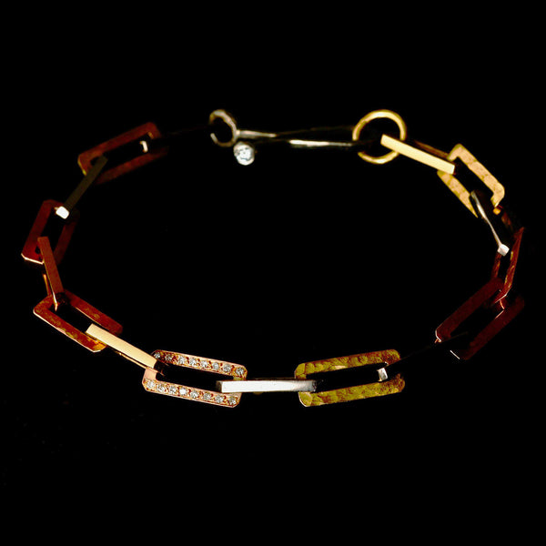 Mixed Gold Rectangular Link Bracelet