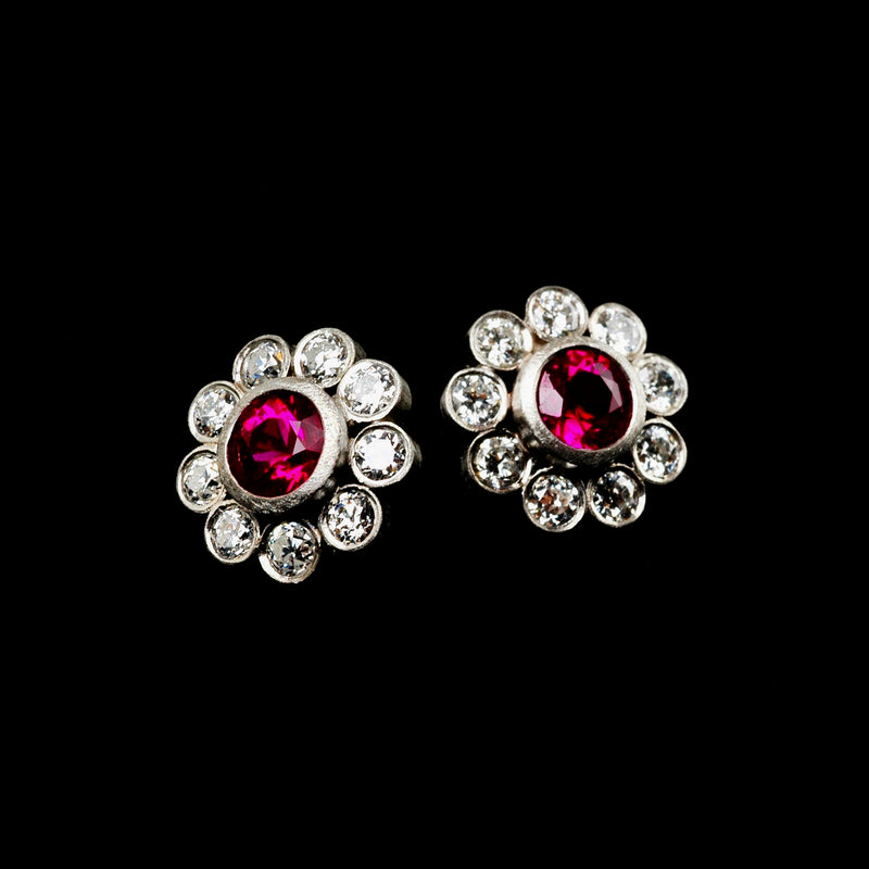 Ruby Flower Earrings