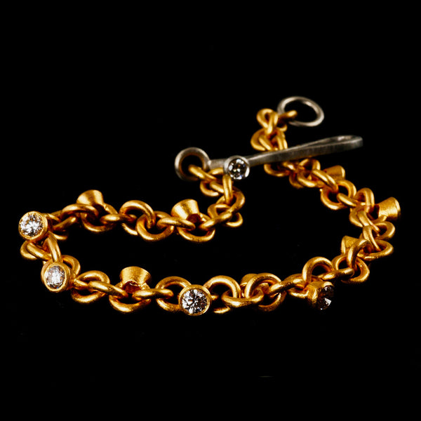 Gold Diamond Charm Bracelet