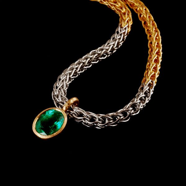 Platinum and Gold Oval Emerald Necklace
