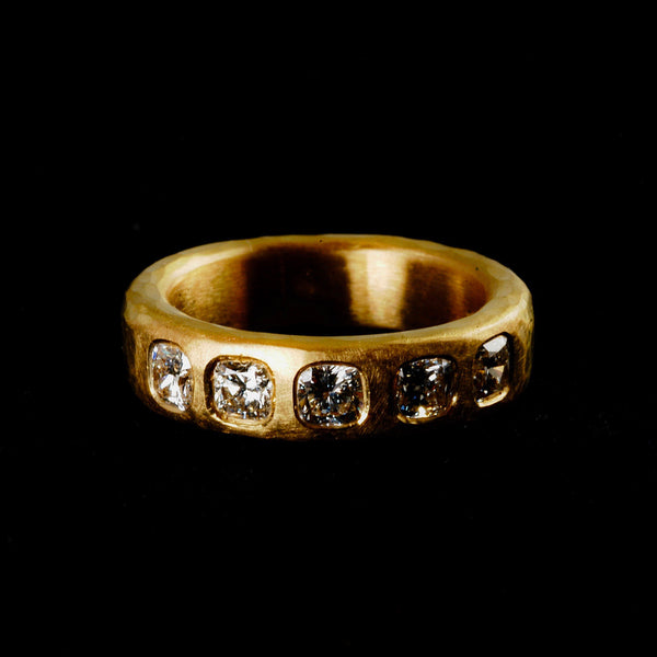 18ct Gold with Cushion Cut Diamonds Ring