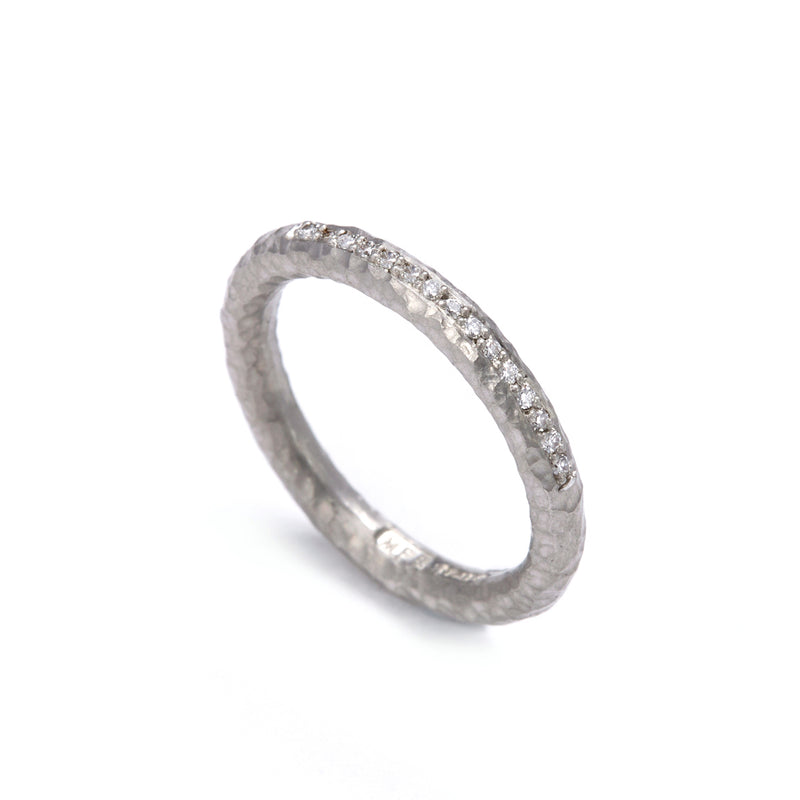 Pinched Platinum Channel Set Diamond Ring