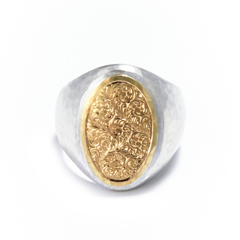 Silver and Gold Oval Engraved Singet Ring