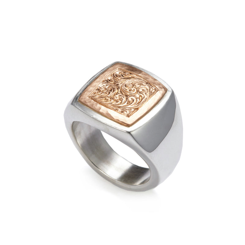 Silver and Gold Square Engraved Signet Ring