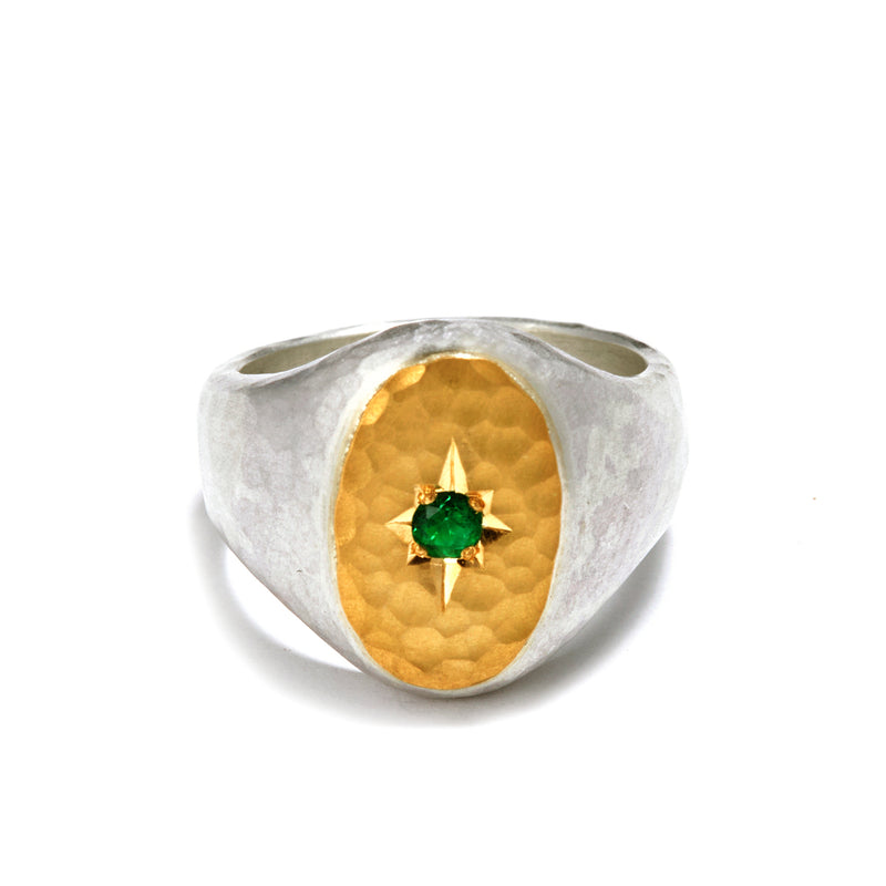 Silver and Gold Oval Signet Ring