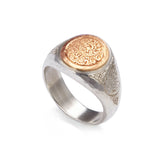Silver and Gold Round Engraved Signet Ring