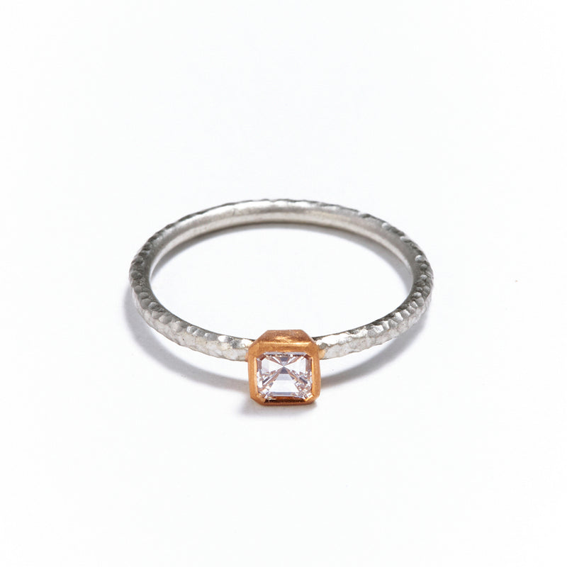 Pinched Platinum and Gold Ascher Cut Diamond Ring