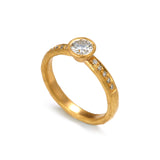 Gold  Diamond Ring with Shoulder Diamonds