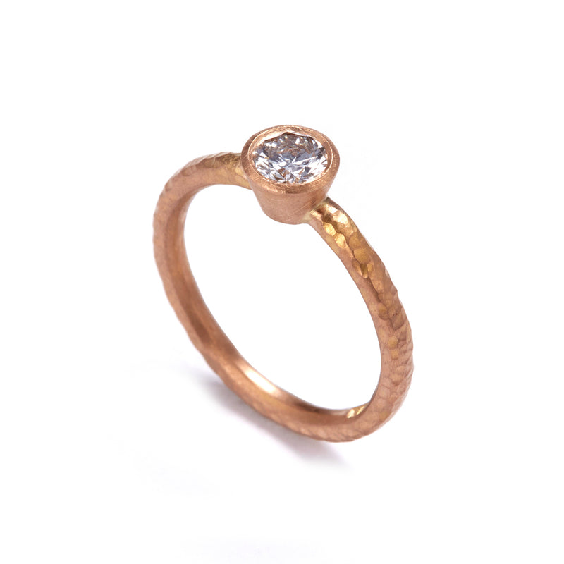 Pinched Rose Gold Diamond Ring