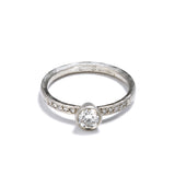 Platinum Diamond Ring with Shoulder Diamonds