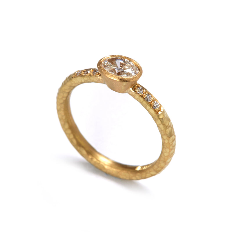 Pinched Yellow Gold Oval Diamond Ring with Shoulder Diamonds