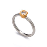 Pinched Platinum and Gold Cushion Cut Diamond Ring