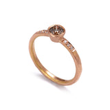 Rose Gold Cognac Diamond Ring with Shoulder Diamonds