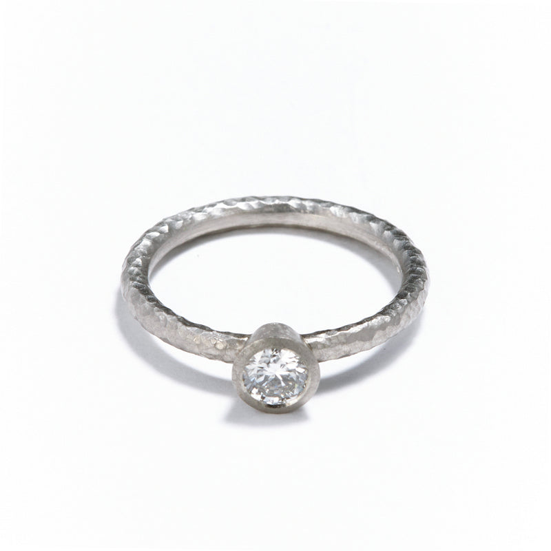 Pinched Platinum Diamond Ring