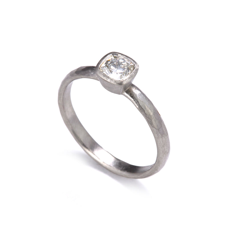 D Shaped Platinum Cushion Cut Diamond Ring