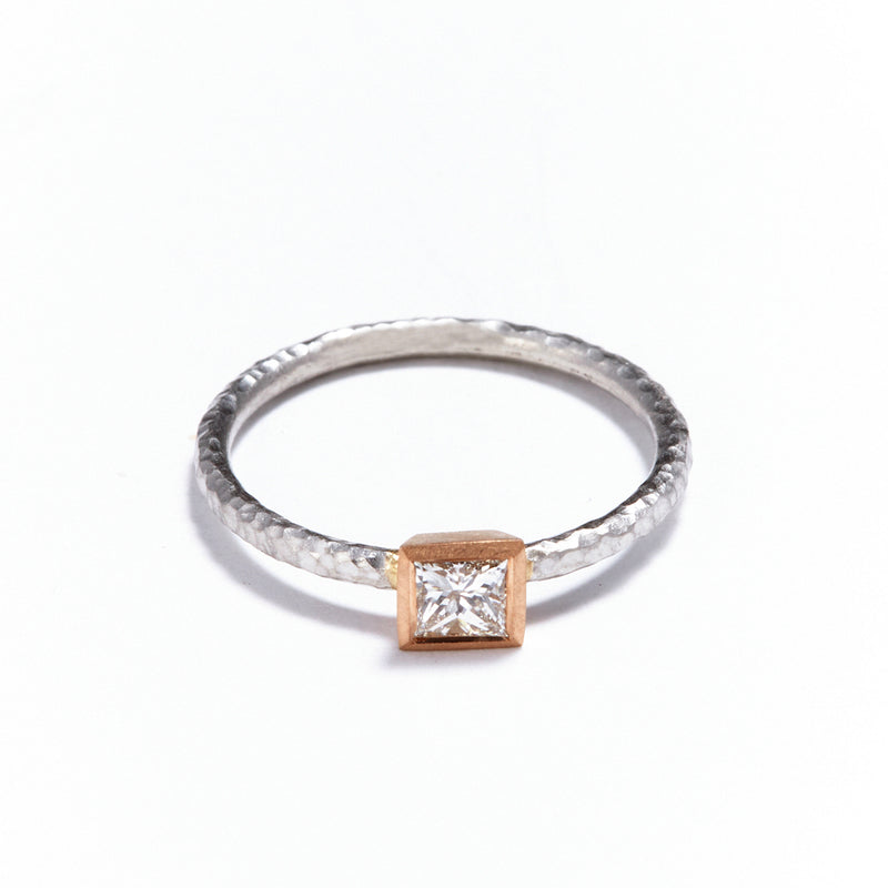 Pinched Platinum Rose Gold Princess Cut Diamond Ring