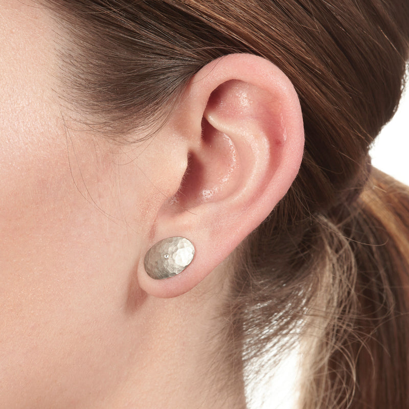 Platinum Oval Disc Earrings