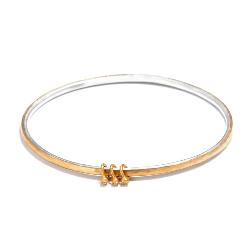 Silver and Gold Bangle with Charms