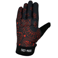 Black & Red Paisley Motorcycle Gloves