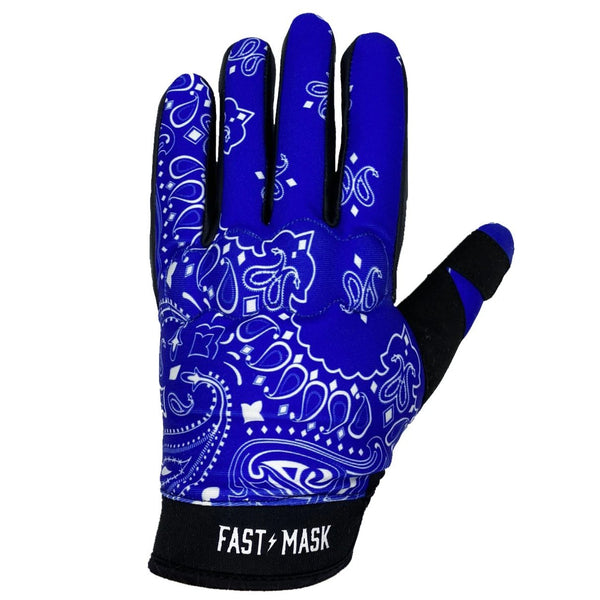 Blue Paisley Fast Mask Motorcycle Gloves