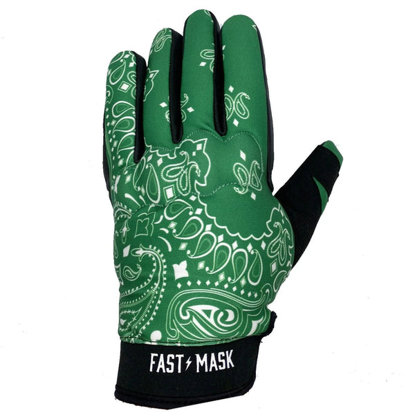 Green Paisley Fast Mask Motorcycle Gloves