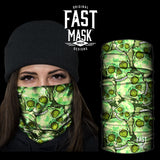 Green Skulls Fleece Face Mask