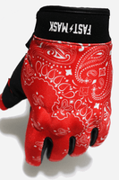Red Paisley Motorcycle Gloves