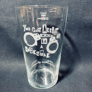 A set of 4 Vinyl Revolution beer glasses featuring a quote from Sid Vicious