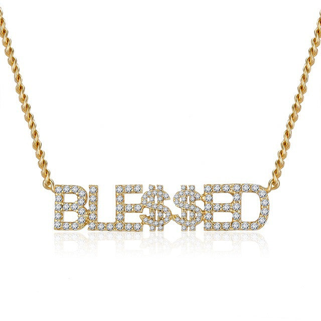 Hip hop Rhinestone letter necklace Personalized English Pendant