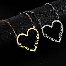 Load image into Gallery viewer, Customized heart-shaped name letter necklace
