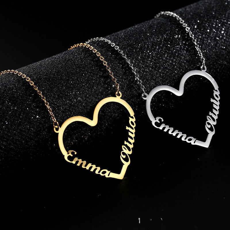 Customized heart-shaped name letter necklace