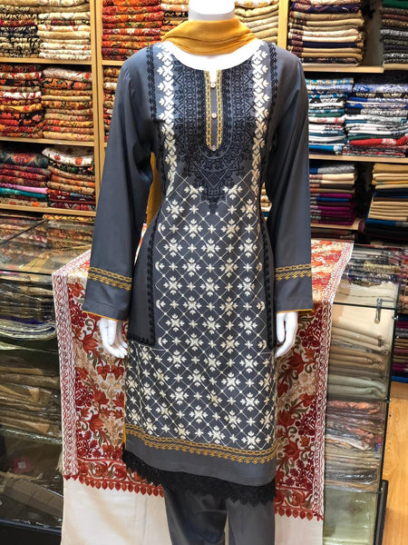 Linen suit with warm dupatta