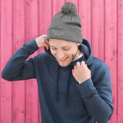 Pom-Pom Embroidered Knit Beanie