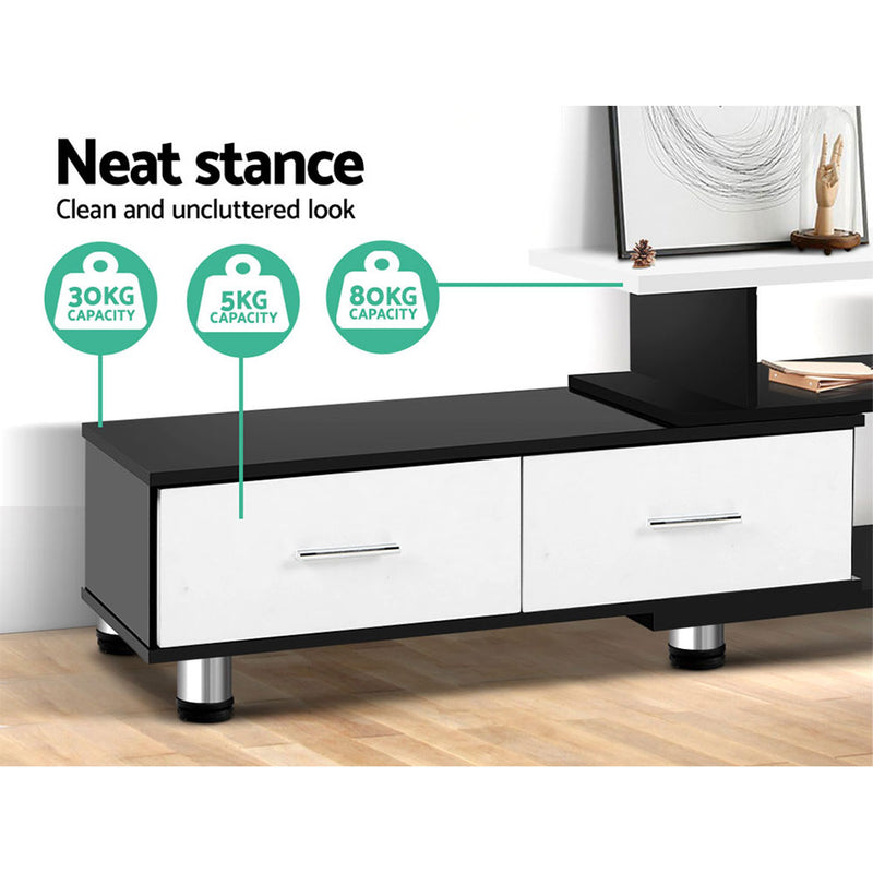 Franca 160-220cm Adjustable TV Unit - Black & White