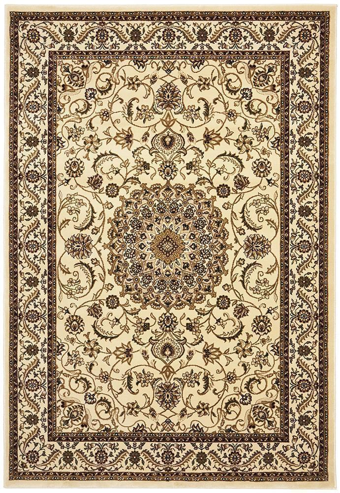 Tuggerah Collection Medallion Rug Ivory With Ivory Border
