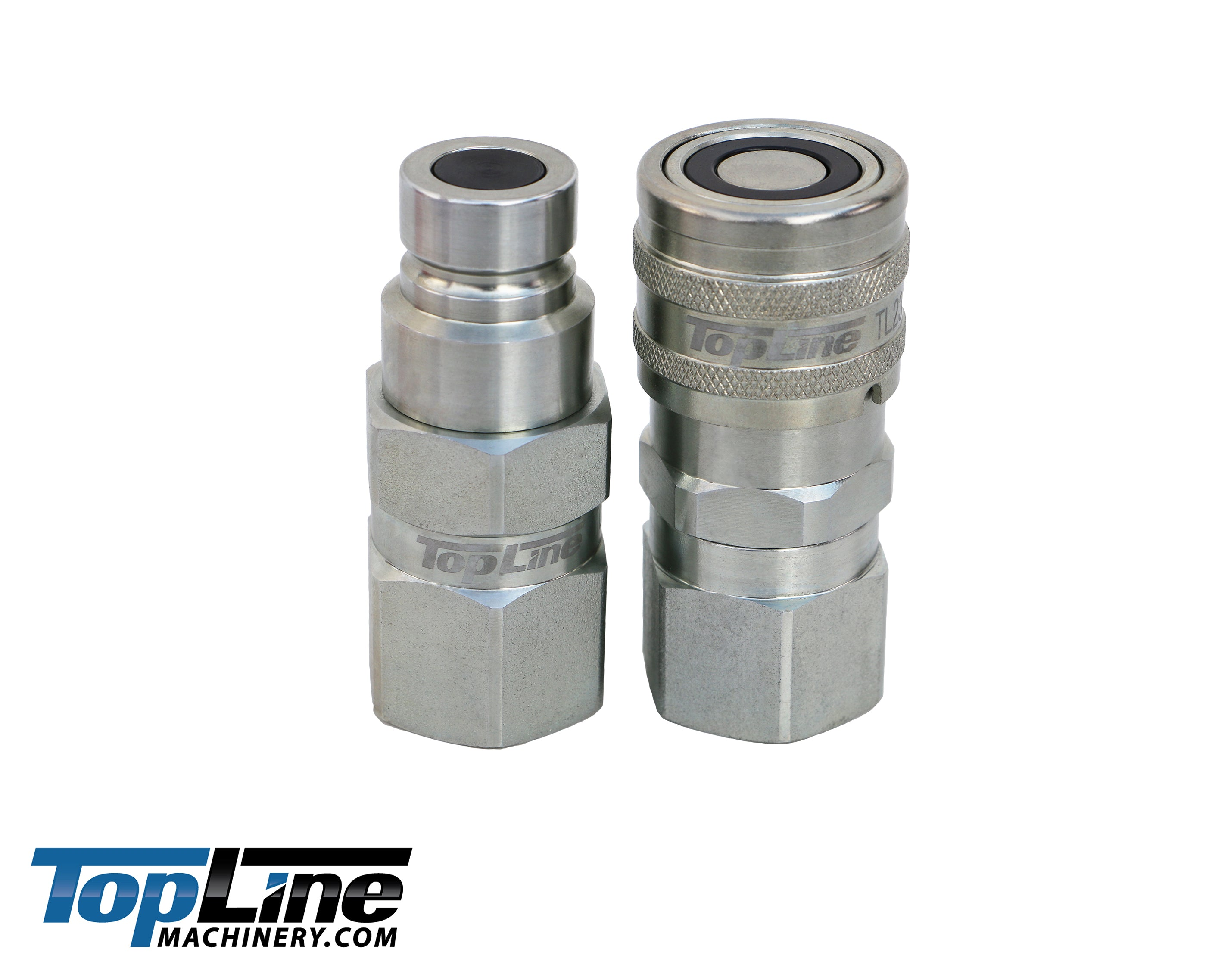 2 Sets 1//2 NPT Flat Face Hydraulic Quick Connect Couplers Set Compatible with Skid Steer Bobcat
