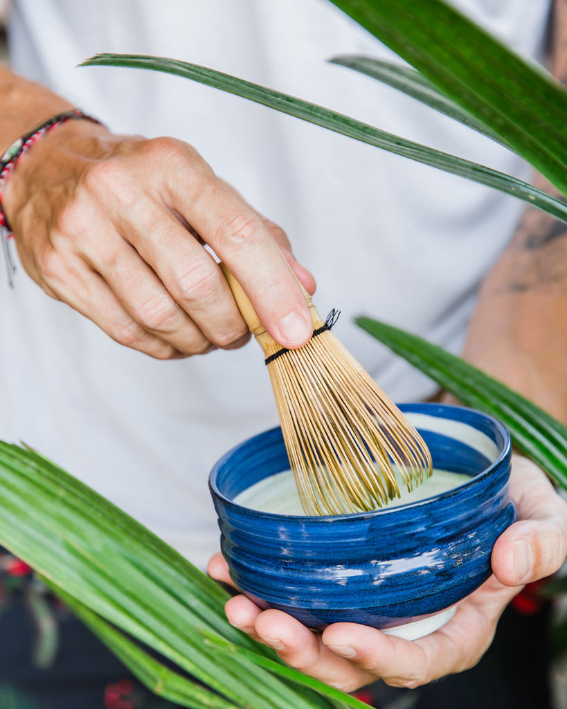 Matcha green tea in Bali, pure ceremonial grade made the traditional way with chawan and chasen