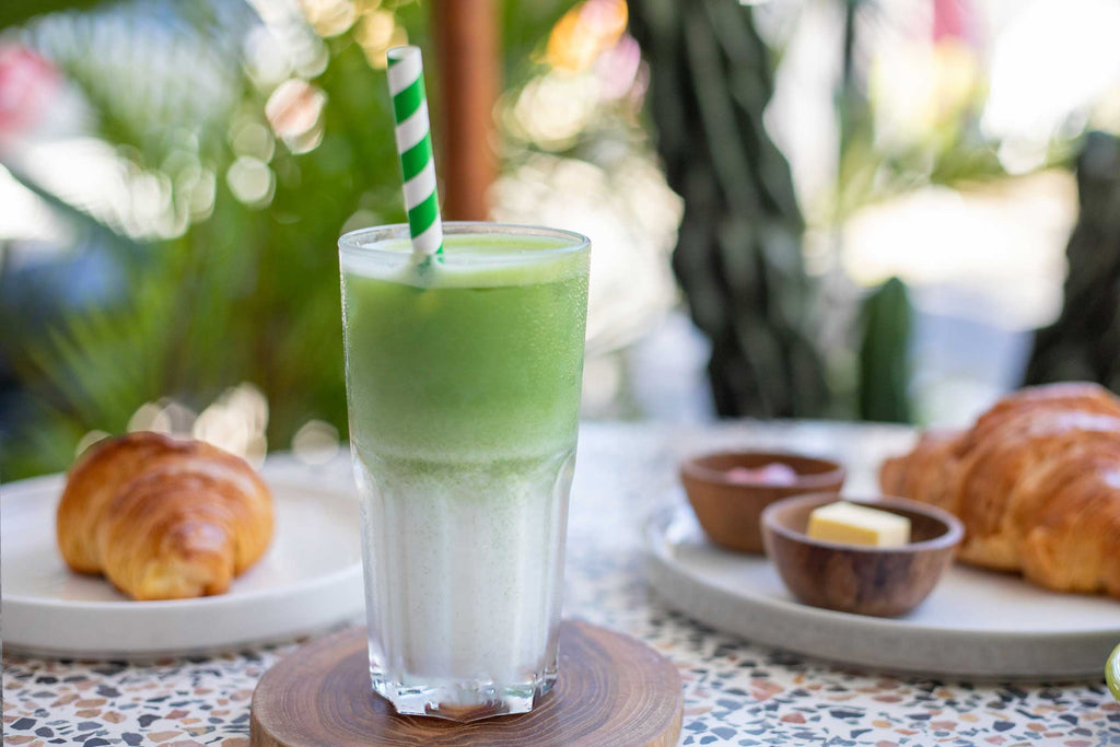 Iced matcha latte with house-made almond milk