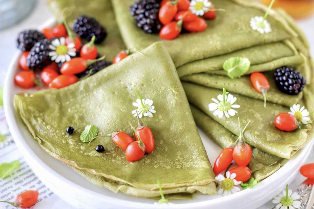 Matcha Crepes Vegetarian Dairy-free and Refined Sugar-free