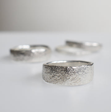 Granite Silver Wide Ring