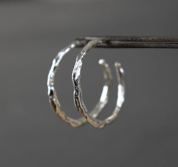 Ocean Silver Hoop Earrings