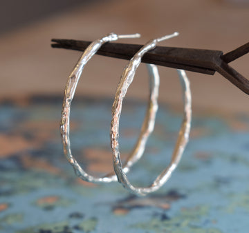Ocean Silver Large Hoop Earrings