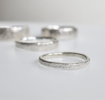 Granite Silver Narrow Ring