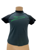 Speedo Sun Top (Short Sleeve) - Black/Grey/Green