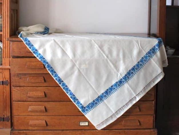 Blue and Ivory Wool Tablecloth