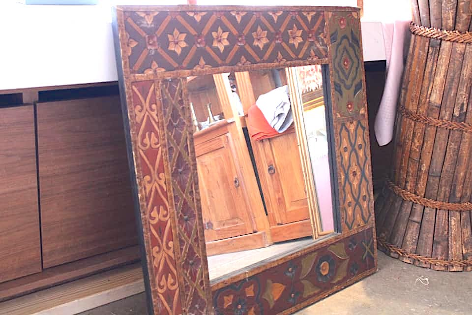 Painted Carved Wood Mirror