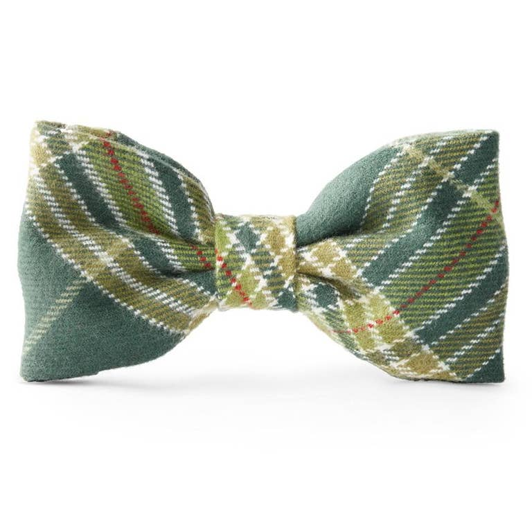 Mossy Plaid Dog Bow Tie