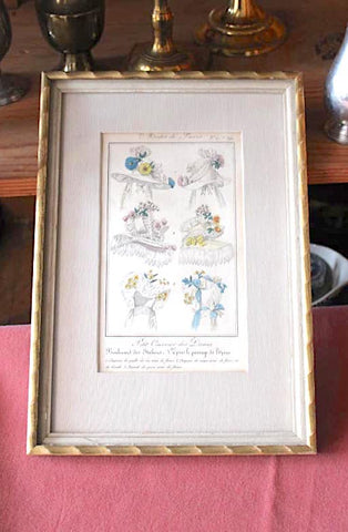 Antique French Milllinery Print in Frame